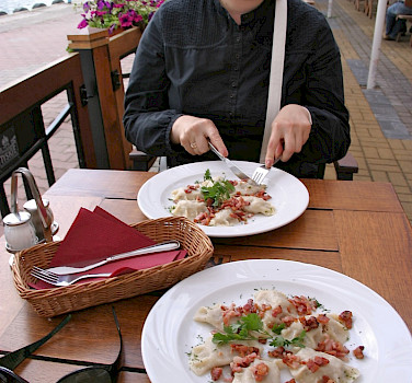 Traditional pierogies in Mikolajki, Masuria, Poland. Photo via Flickr:Lee Fenner