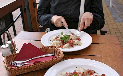 Traditional pierogies in Mikolajki, Masuria, Poland. Flickr:Lee Fenner