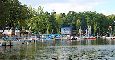 Boating on Niedersee, Masuria Lake District, Poland. Photo courtesy of DNV Tours.