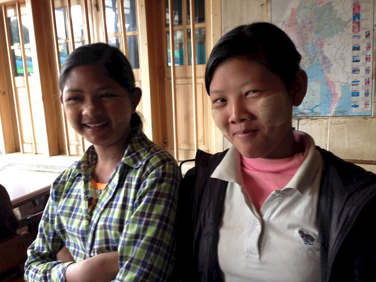 Smiling girls in Burma