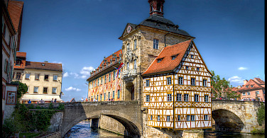 Rathaus, Bamberg at the confluence of Rivers Regnitz and Main, Upper Franconia, Germany. Photo via Flickr:magnetismus
