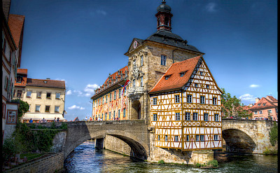 Rathaus in Bamberg at the confluence of Rivers Regnitz & Main, Upper Franconia, Germany. Flickr:magnetismus