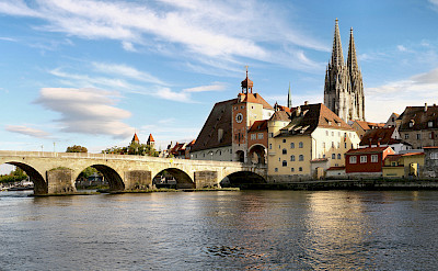 Regensburg at the confluence of the Rivers Naab, Danube & Regen. CC:Grizurgbg