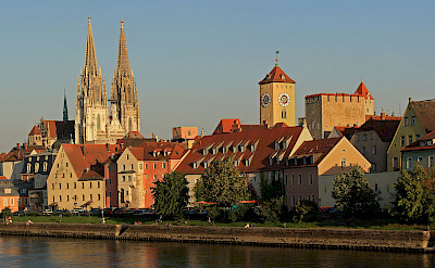 Cathedral and Rathaus in Regensburg, Germany. CC:Avarim