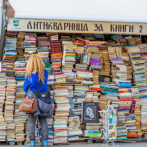 Book vender. Photo: Andy Austin