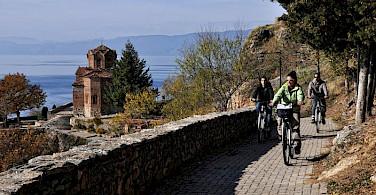 Biking along Lake Ohrid. Photo compliment of Tour Operator