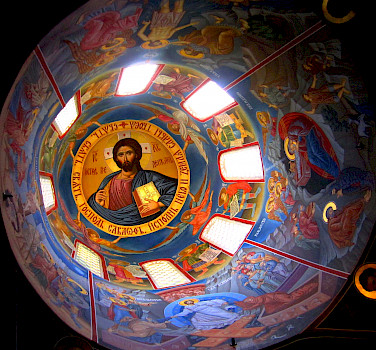 Interior of Saint John the Baptist (Jovan Bigorski) Monastery, near Debar, Macedonia. Photo via Wikimedia Commons:Delfina