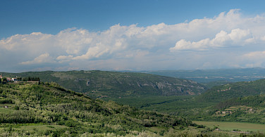 Panoramic of the hilltop Motovun, central Istria, Croatia. Photo via Flickr:Roman Avdagic