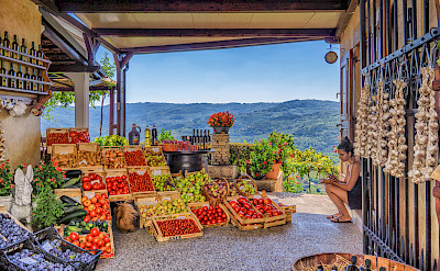 Wine, fruits, view in Motovun on the Istria Peninsula, Croatia. Flickr:Arnie Papp