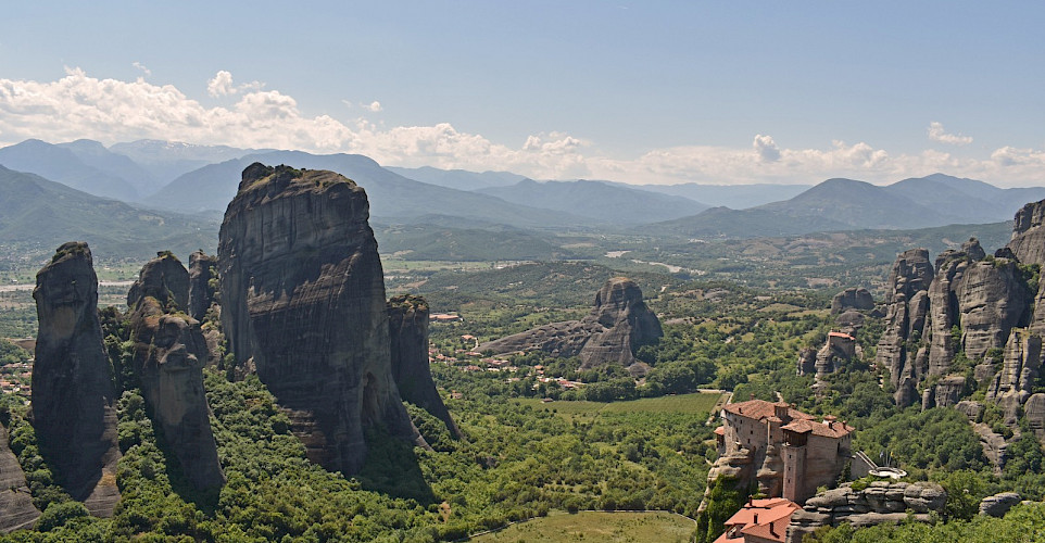 Eastern Orthodox Monasteries atop cliffs in Meteora, Greece. Flickr:Harshil Shah