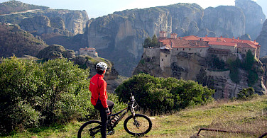 Mountain biking with a view in Meteora, Greece. Photo courtesy of the TO.