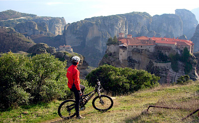 Bike rest for the view in Meteora, Greece. Photo via TO
