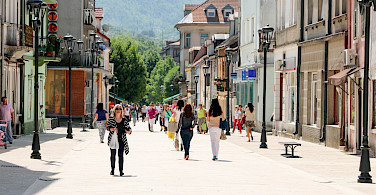 Shopping in Cetinje, former capital city of Montenegro. Photo via Flickr:Kevin Wallis