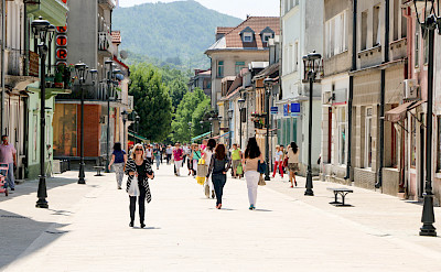 Shopping in Cetinje, former capital city of Montenegro. Flickr:Kevin Wallis