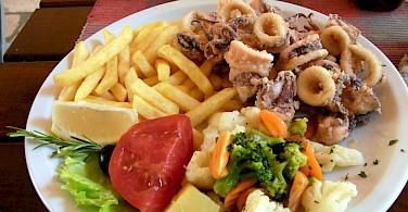 Fried calamari awaits in Dubrovnik along the Dalmatian Coast in Croatia. Flickr:Twang Dungaree's