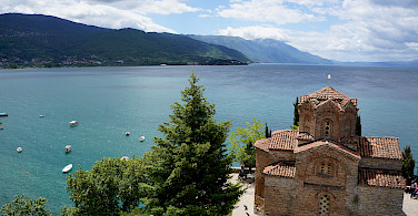 Monastery overlooking Ohrid Lake, Albania. Photo via Flickr:By Inge