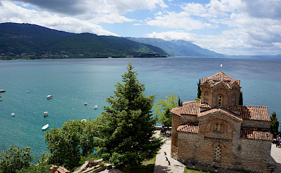 Monastery overlooking Ohrid Lake, Albania. Flickr:By Inge