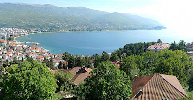 Ohrid Lake and Ohrid, Albania. Photo via Wikimedia Commons:Alexander Vujadinovic