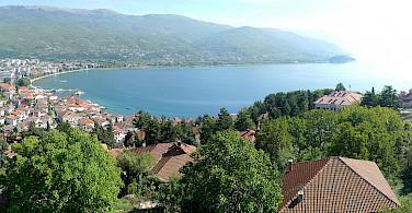 Ohrid Lake and Ohrid, Albania. Photo via Wikimedia Commons:Alexander Vujadinovic