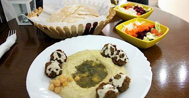 Falafel and hummus at the lakeside resort town of Ohrid, Macedonia. Flickr:Charlie Marchant
