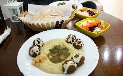 Falafel and hummus at the lakeside resort town of Ohrid, Macedonia. Flickr:Charlie Marchant
