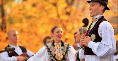 Folk dancing along the Danube River bike tour. Photo courtesy of Radundreisen-Eurocycle