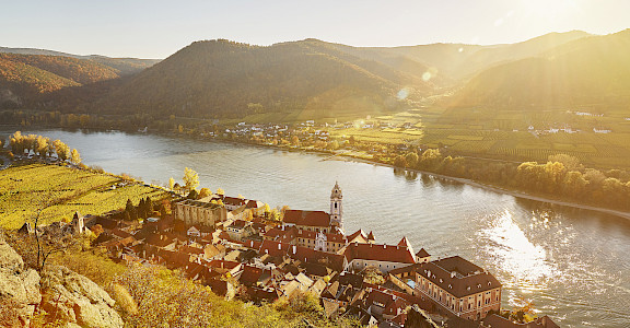 Durnstein in the Wachau Valley, Krems-Land, Lower Austria. Danube River bike tour. Photo via TO