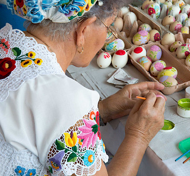 Egg painting at the Folk House in Kalocsa, Hungary. Photo via Flickr:Gary Bembridge
