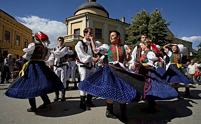 Sremski Karlovci Folkdancing, Serbia along the Danube River bike tour. ©TO