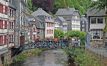 Half-timbered architecture in Monschau, Germany on the Four Countries Bike Tour. Photo via Flickr:Gunter Hentschel