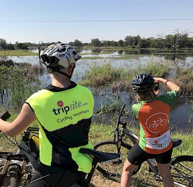 Hennie and crew biking Kruger National Park.