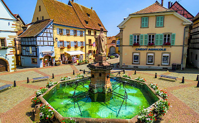 Fountain in Eguisheim, Alsace, France. Flickr:Kiefer