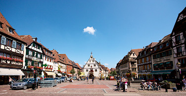 Beautiful square in Obernai along the Alsace Wine Route, France. Photo via Flickr:Rodrique ROMON