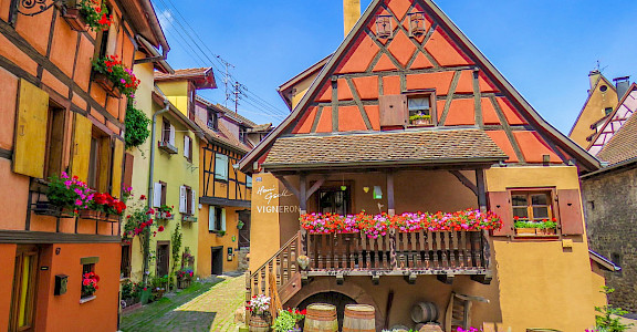 Colorful architecture in Eguisheim, Alsace, France. Flickr:Kiefer