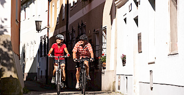 Enjoying a bike ride through the medieval streets of Austria on the Danube Bike Tour.