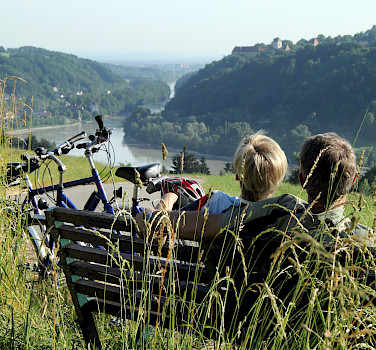 Bike rest overlooking the Danube River Path in Austria.
