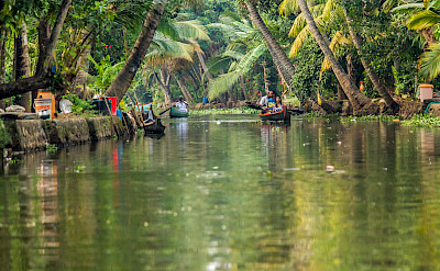Backwater canal boat ride in Alleppey, Kerala, India. Photo via Flickr:Silver Blue
