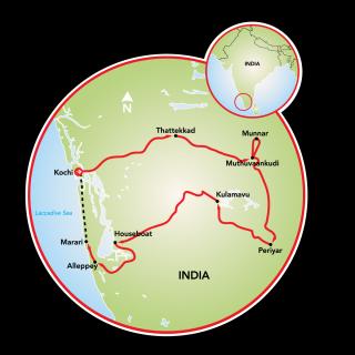 Exotic Kerala, India Map