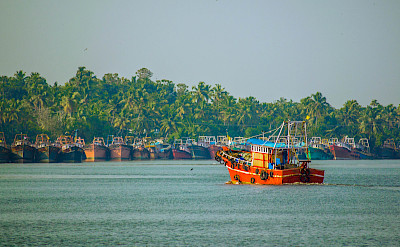 Fishing boats in Kerala, India. Photo via Flickr:Thangaraj Kumaravel