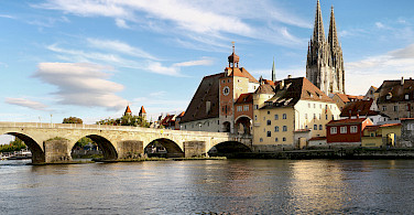 Regensburg along the Danube River, Germany. Photo via Wikimedia Commons:Grizurgbg
