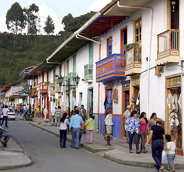 Calle Real, the popular shopping street in peaceful Salento, Quindío, Colombia. Photo via Flickr:Triangulo del Cafe Travel