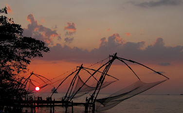 Chinese fishing nets in Fort Kochi, Kerala, India. Photo via Flickr:Chandrika Nair