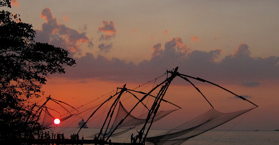 Chinese fishing nets in Fort Kochi, Kerala, India. Photo via Flickr:Chandrika Nair