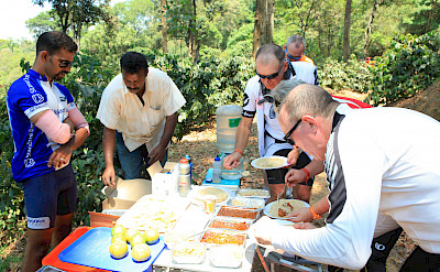 Lunch off the bike in Kerala, India.