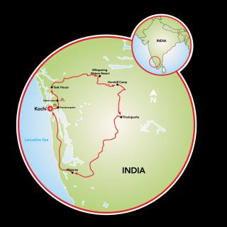 Rural Kerala, India Map