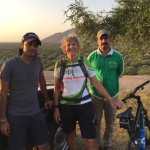 Early in the morning we hopped on our bikes for a leopard safari ride. with my tour guide and safari leader/hotel owner near Pali