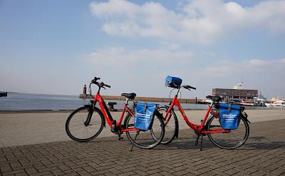 Bikes on the Arlene II: E-Bike on the left, 7-Speed Hybrid on the right   Bike & Boat Tours