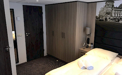Closet in the suite cabin on the Arlene II   Bike & Boat Tours