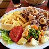 Grilled calamari in Dubrovnik, Croatia. Flickr:twang_dunga