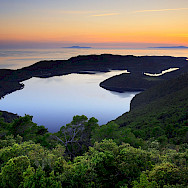 Mljet Lakes and Islands at sunset in Croatia. Wikimedia Commons:jaganjac